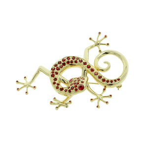 THE  GECKO - The gecko, a small good luck dragon made of light gold and ruby stones. - A.Z. Bigiotterie