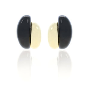 BEATLE 3 - Clip earrings with gold plated and black resins, matching with BEATLE choker and bracelet. - A.Z. Bigiotterie