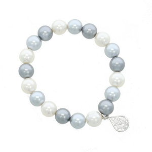 CLARISSA - Jewel made of white, light and dark grey pearls and rodhium charm :a touch of everyday elegance! - A.Z. Bigiotterie