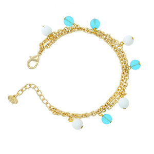 AZZURRA - AZZURRA is a bracelet made in light gold and turquoise and white spheres: it  can be worn everyday as it has delicate and refined tones. - A.Z. Bigiotterie