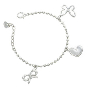 EMILIE - A bracelet in rodhium with three charms: a heart, a bow and a butterfly...very feminine and elegant! - A.Z. Bigiotterie