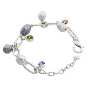 CHARMING CHARM - CHARMING CHARM is a fresh and charming bracelet, ideal for all ages! It's made of rodhium with tanzanite, vintage rose, olivine stones and light and dark grey pearls. - A.Z. Bigiotterie